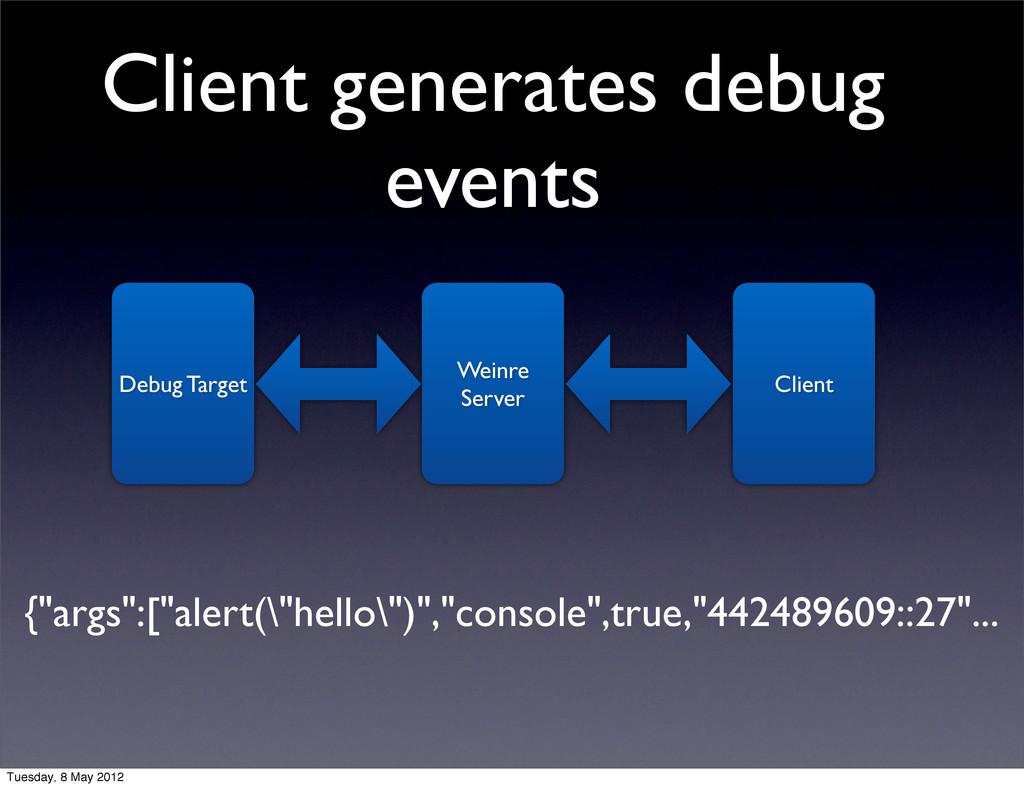Client generates debug events Debug Target Wein...
