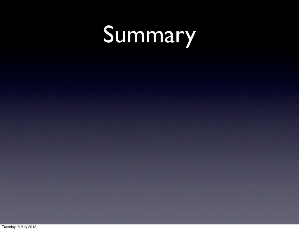 Summary Tuesday, 8 May 2012
