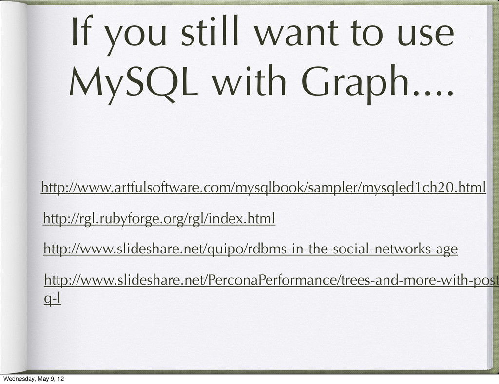 If you still want to use MySQL with Graph.... h...