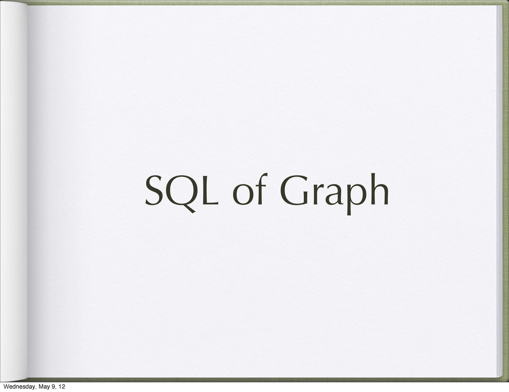 SQL of Graph Wednesday, May 9, 12