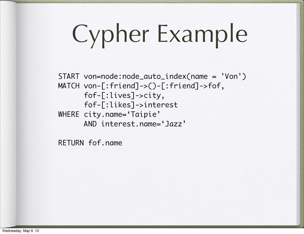 Cypher Example START von=node:node_auto_index(n...