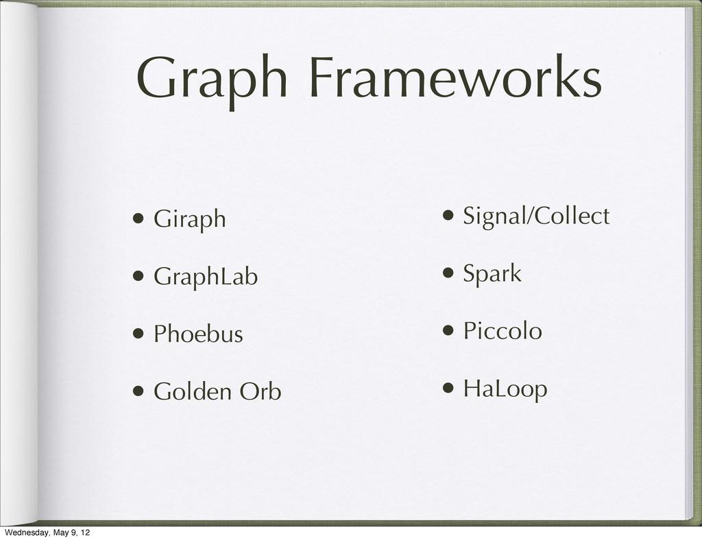 Graph Frameworks • Giraph • GraphLab • Phoebus ...