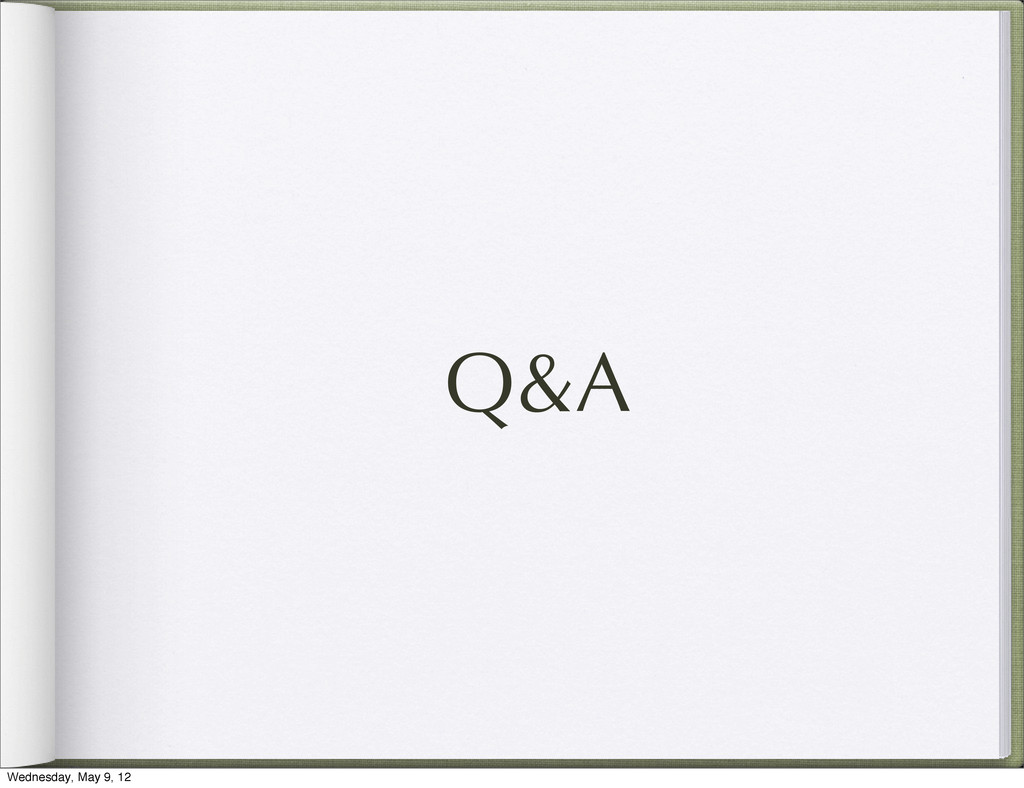 Q&A Wednesday, May 9, 12