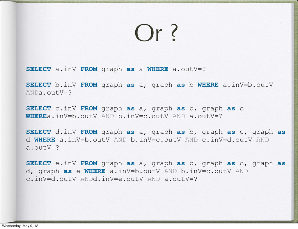 Or ? SELECT a.inV FROM graph as a WHERE a.outV=...