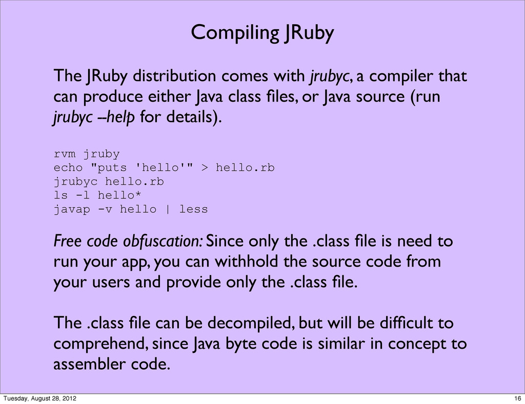 Compiling JRuby The JRuby distribution comes wi...