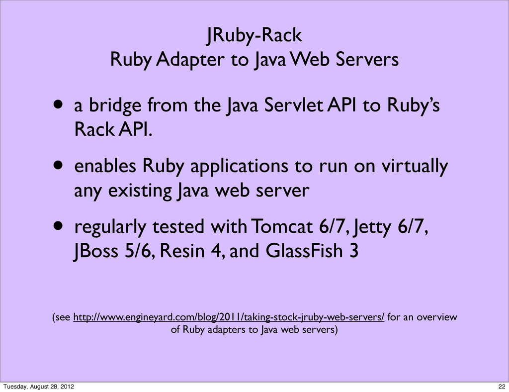 JRuby-Rack Ruby Adapter to Java Web Servers • a...