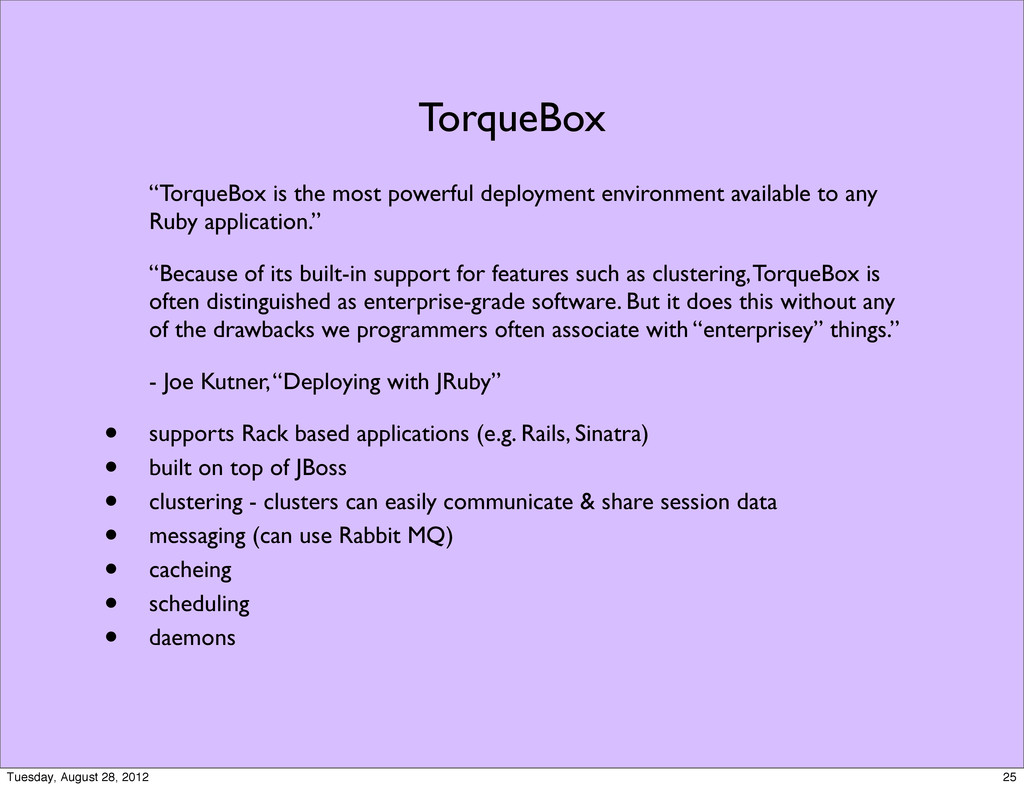 "TorqueBox ""TorqueBox is the most powerful deplo..."