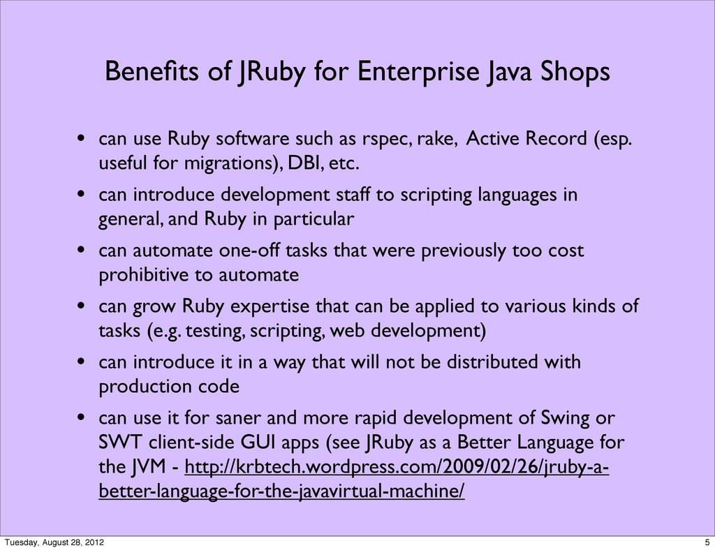Benefits of JRuby for Enterprise Java Shops • ca...