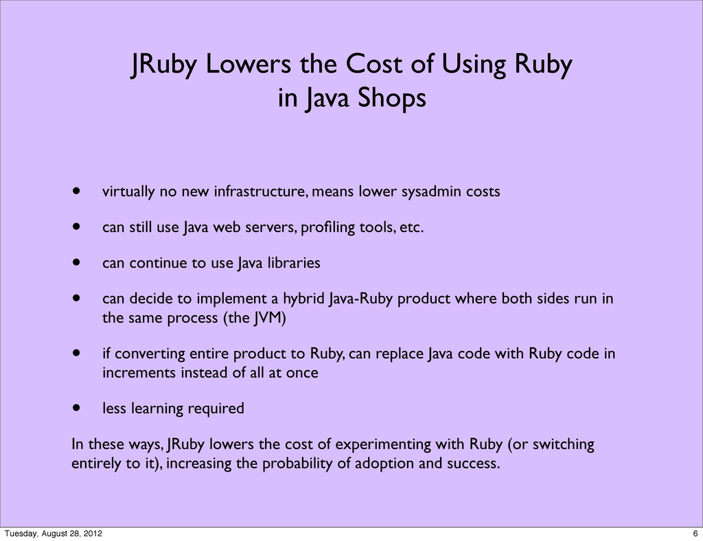 JRuby Lowers the Cost of Using Ruby in Java Sho...