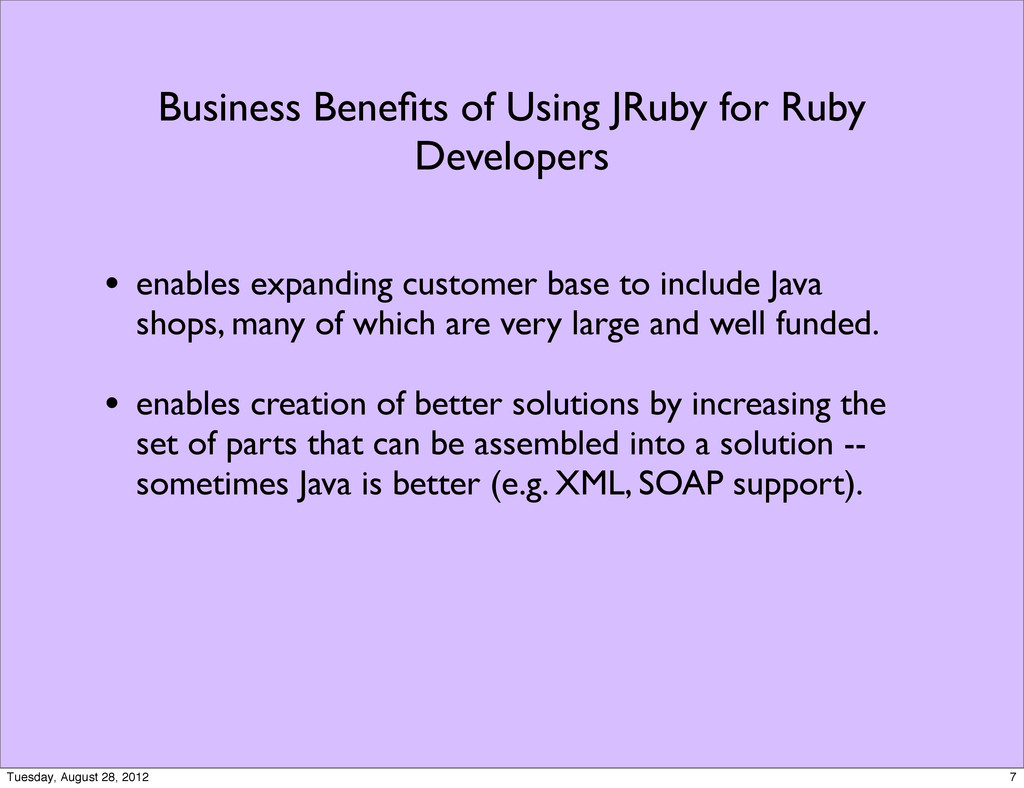 Business Benefits of Using JRuby for Ruby Develo...