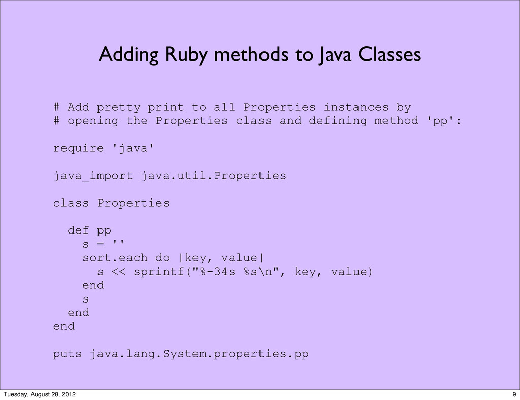 Adding Ruby methods to Java Classes # Add prett...