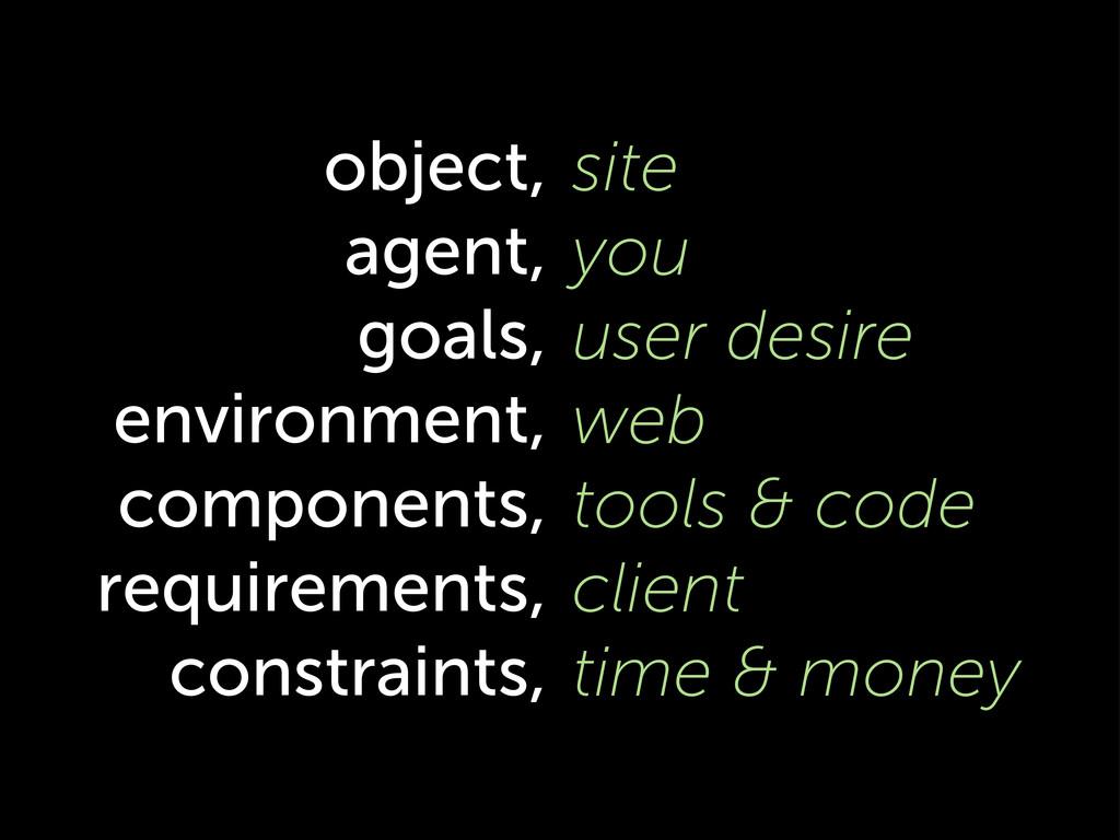 object, agent, goals, environment, components, ...