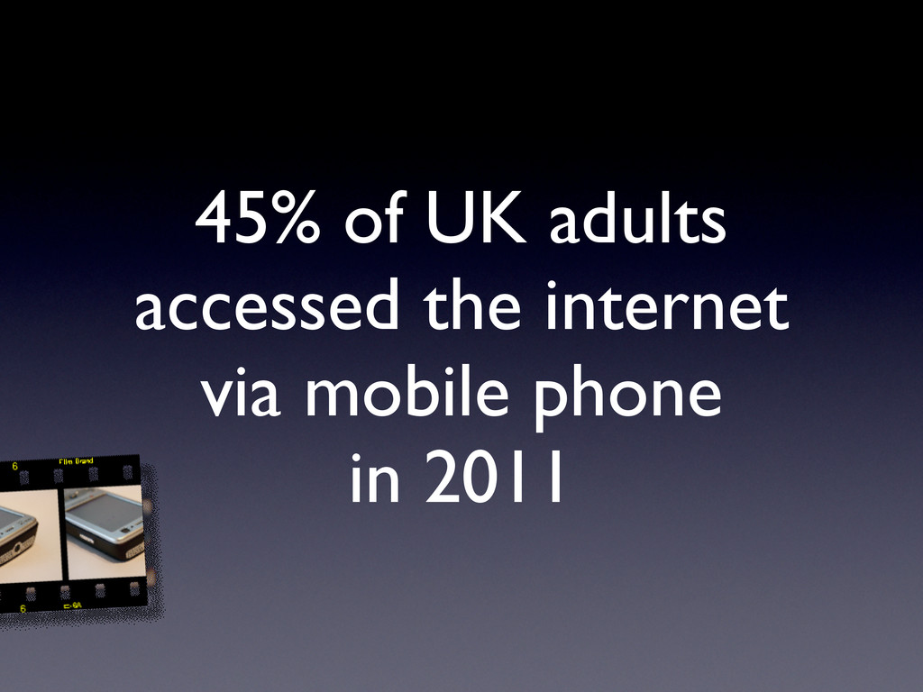45% of UK adults accessed the internet via mobi...