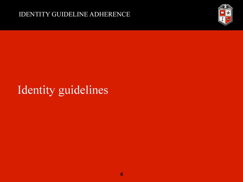 IDENTITY GUIDELINE ADHERENCE Identity guideline...
