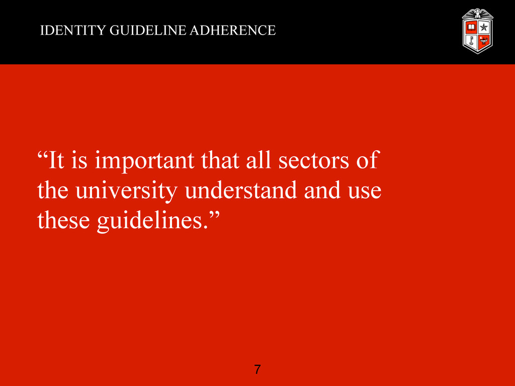 """IDENTITY GUIDELINE ADHERENCE """"It is important t..."""