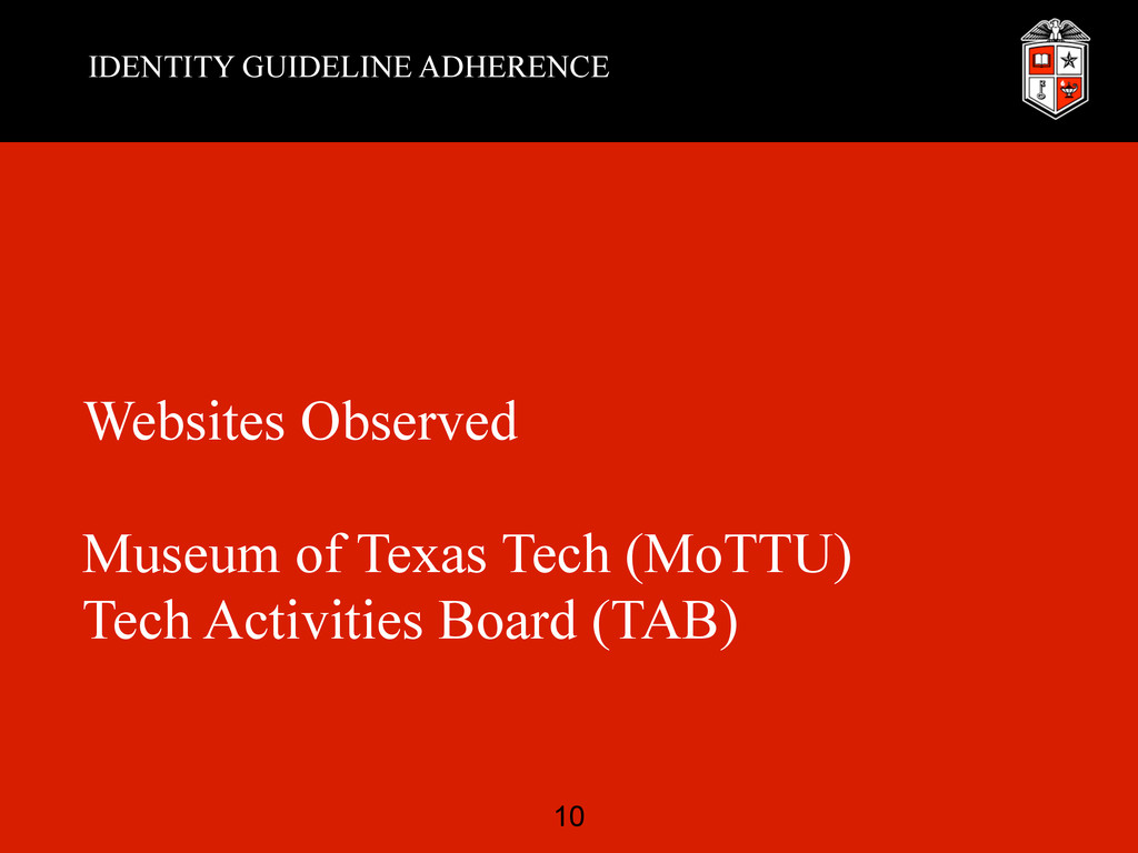 IDENTITY GUIDELINE ADHERENCE Websites Observed ...