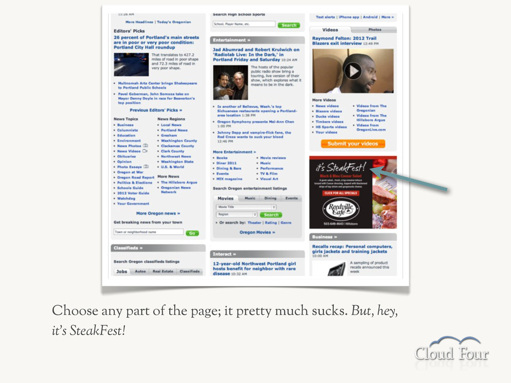 Choose any part of the page; it pretty much suc...