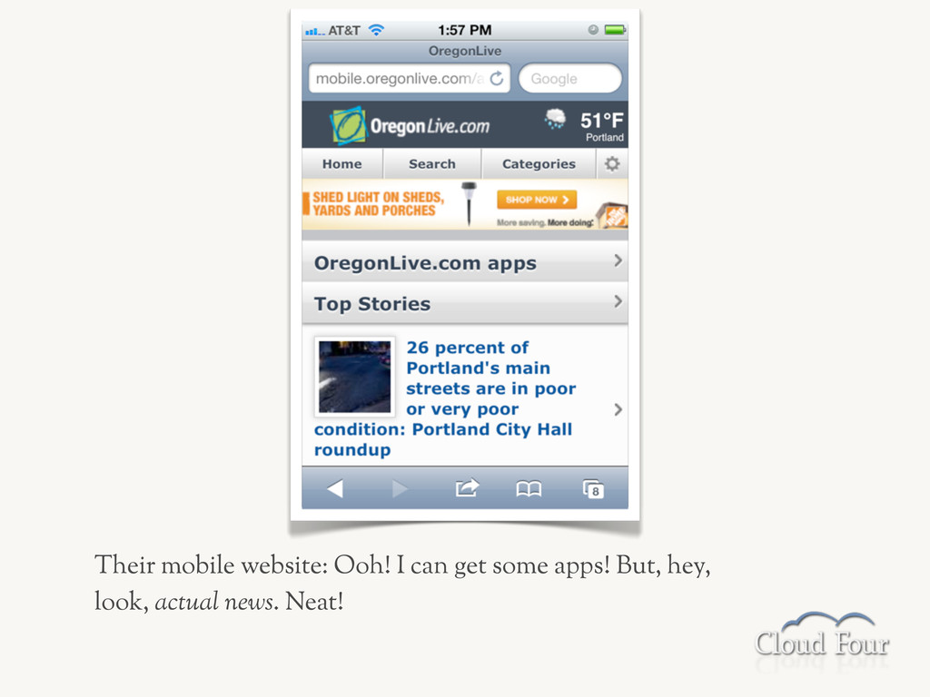 Their mobile website: Ooh! I can get some apps!...