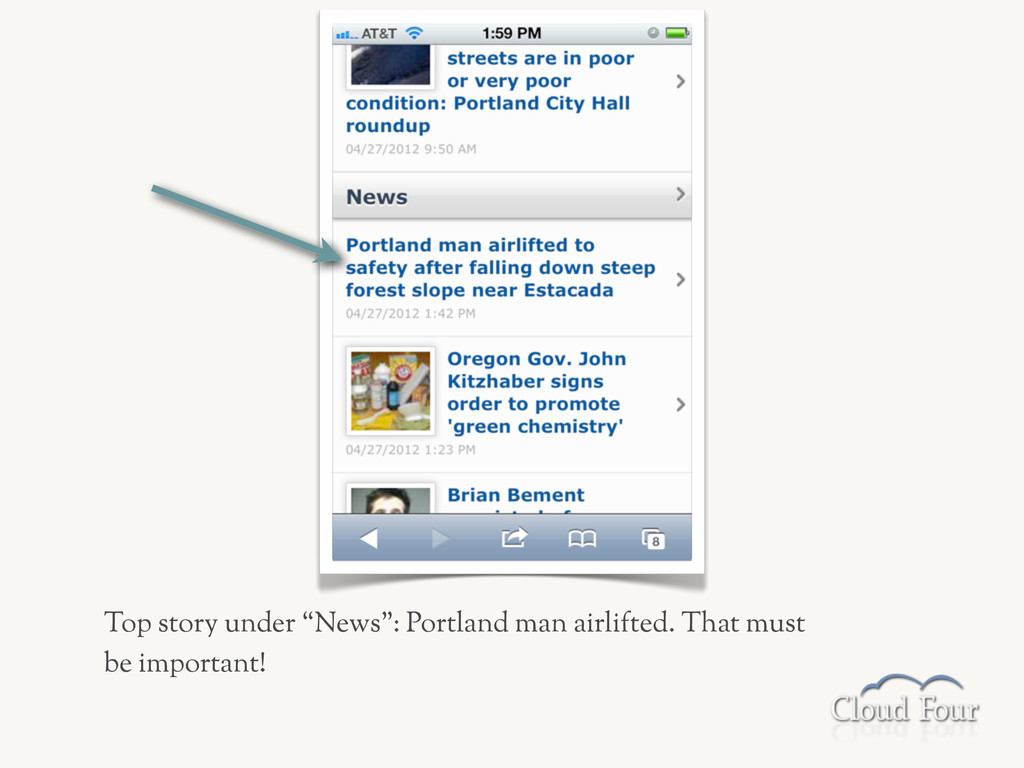 """Top story under """"News"""": Portland man airlifted...."""