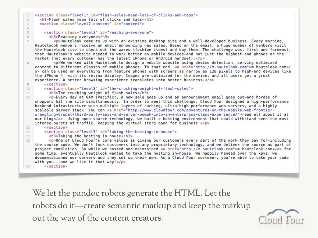 We let the pandoc robots generate the HTML. Let...