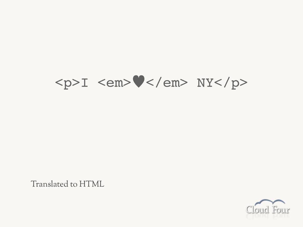 <p>I <em>—</em> NY</p> Translated to HTML