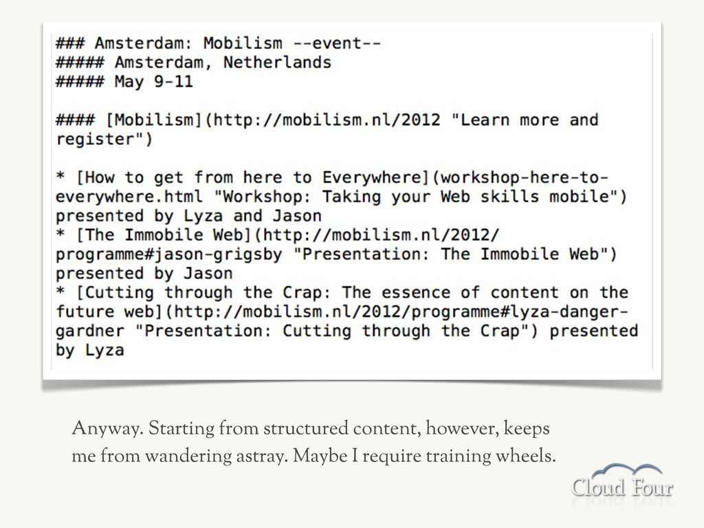 Anyway. Starting from structured content, howev...