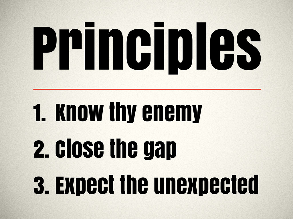 Principles 1. Know thy enemy 2. Close the gap 3...