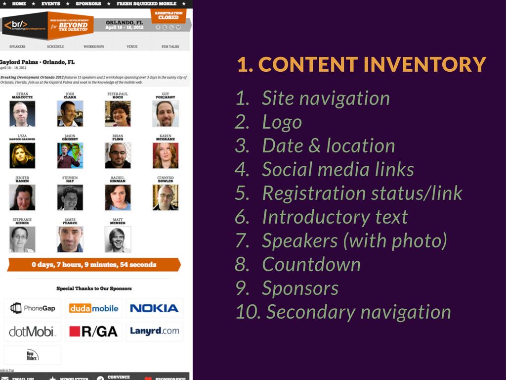 1. CONTENT INVENTORY 1. Site navigation 2. Logo...