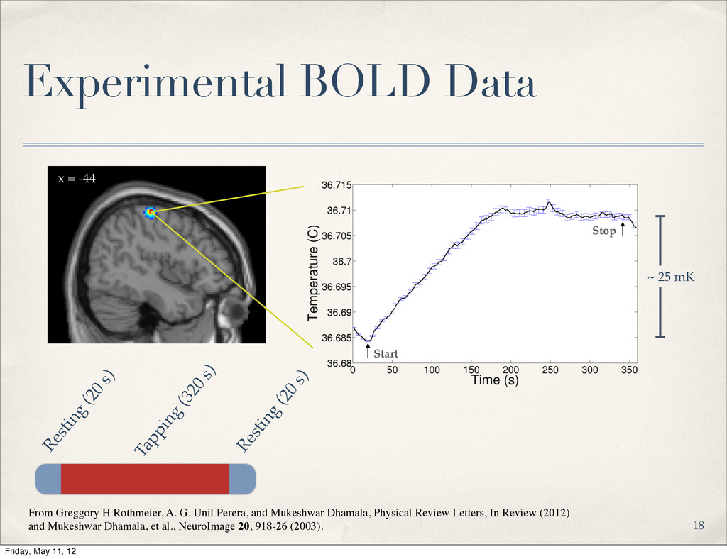Experimental BOLD Data Resting (20 s) Tapping (...