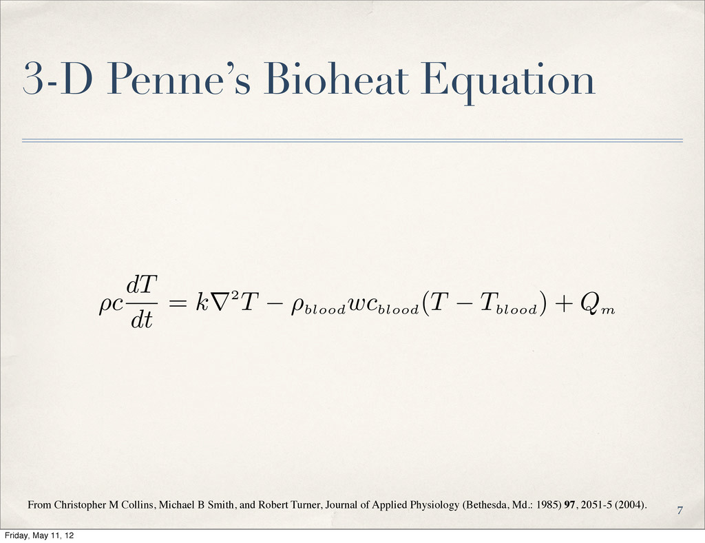 3-D Penne's Bioheat Equation From Christopher M...