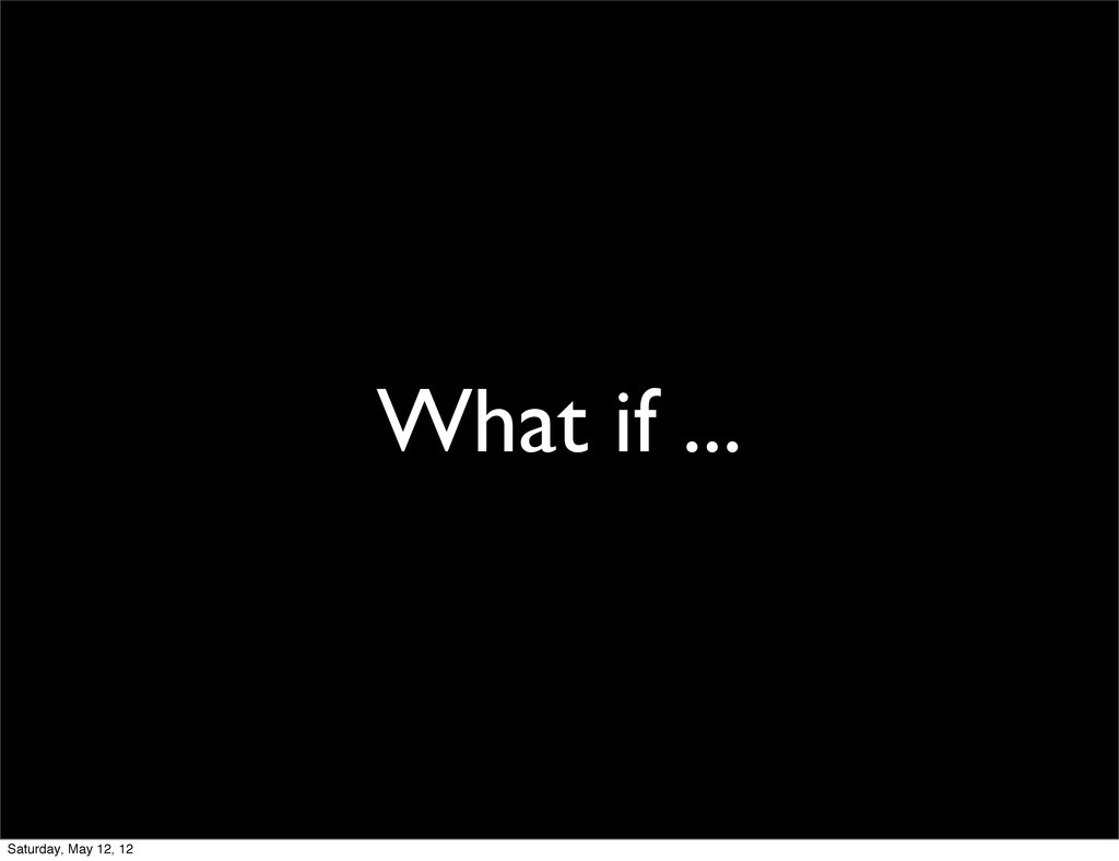 What if ... Saturday, May 12, 12