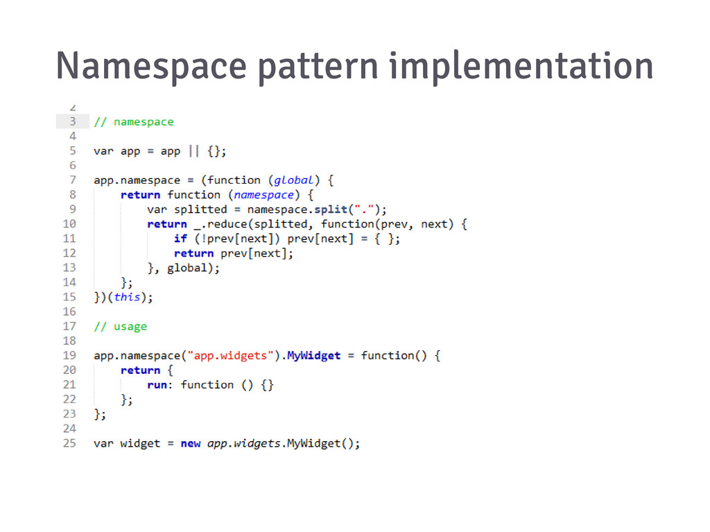 Namespace pattern implementation