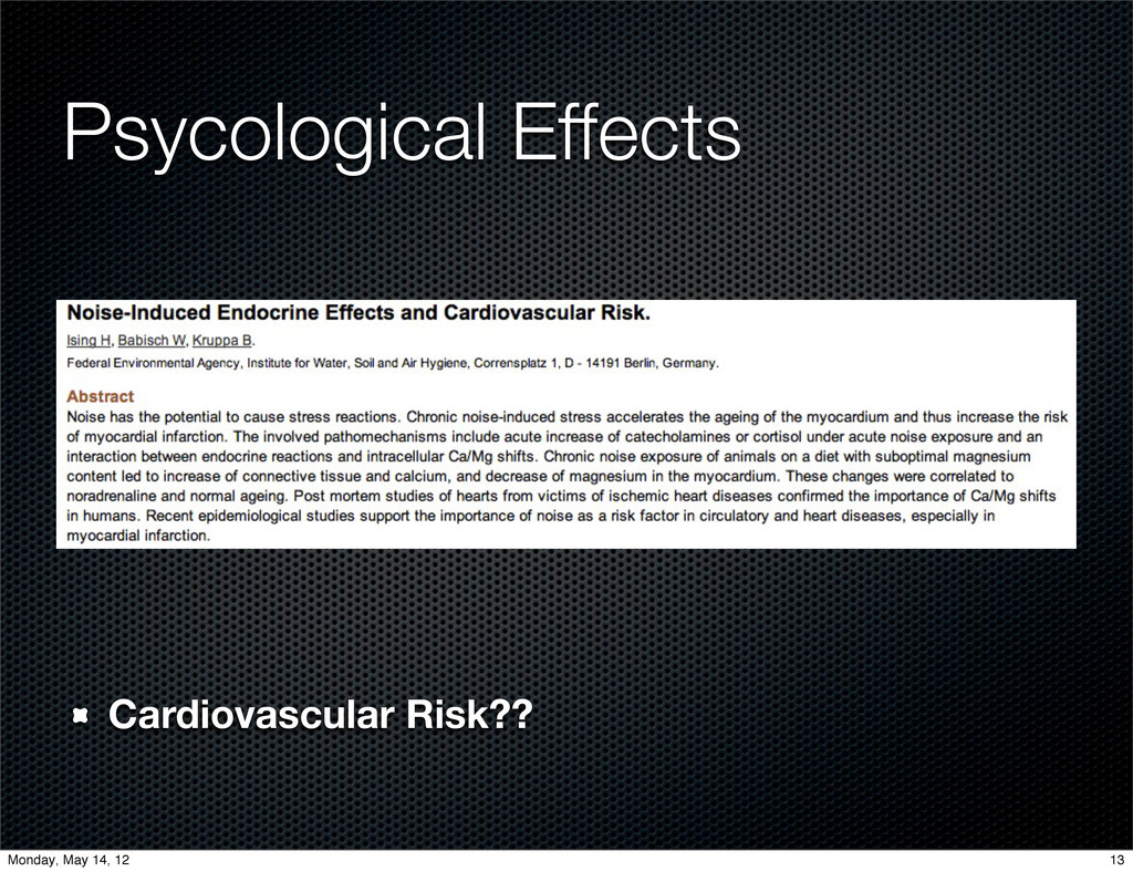 Cardiovascular Risk?? Psycological Effects 13 M...