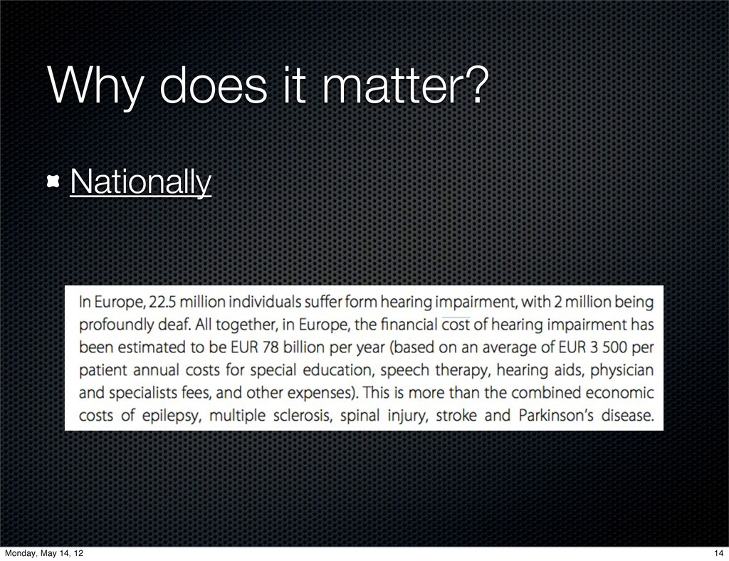 Why does it matter? Nationally 14 Monday, May 1...