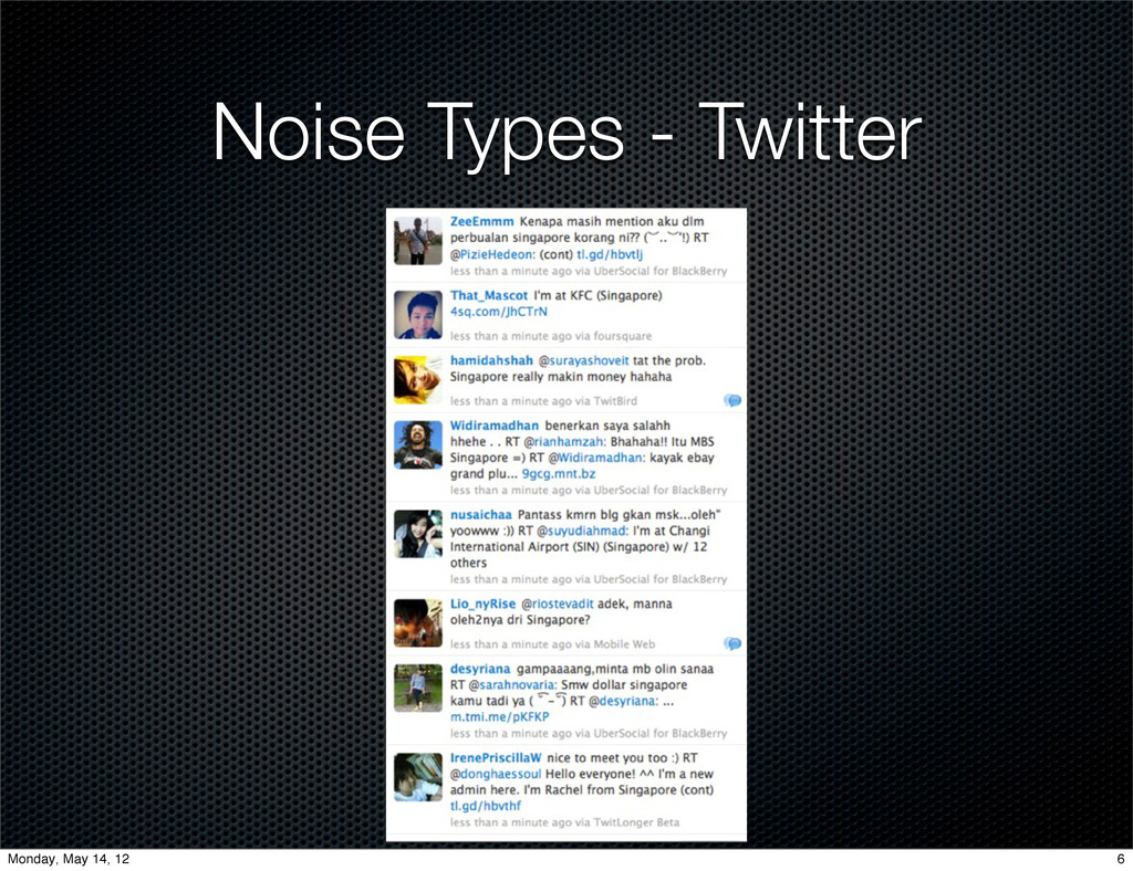 Noise Types - Twitter 6 Monday, May 14, 12