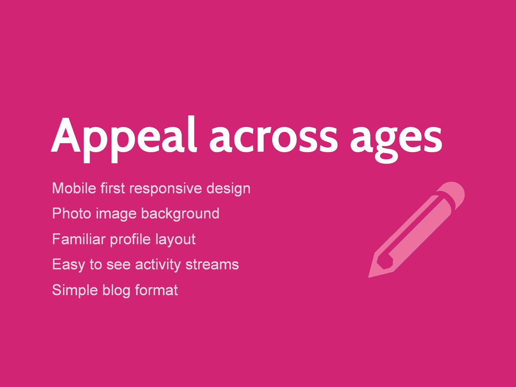 Appeal across ages Mobile first responsive desi...