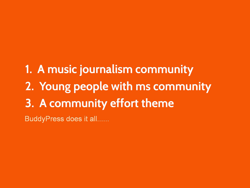 1. A music journalism community 2. Young people...