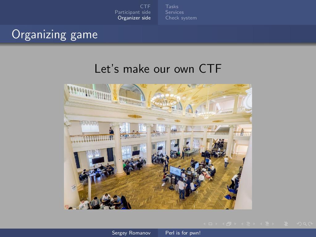 CTF Participant side Organizer side Tasks Servi...