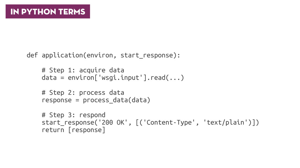 In Python Terms def application(environ, start_...