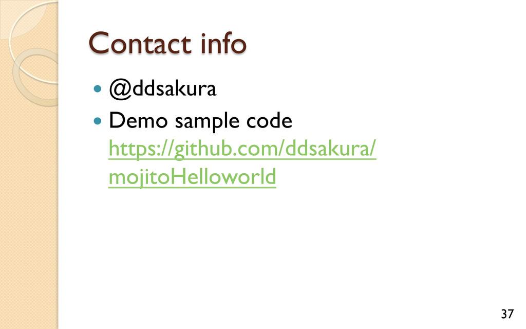 Contact info — @ddsakura — Demo sample code...