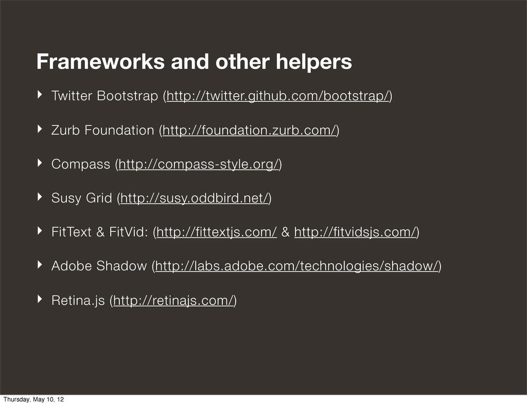 Frameworks and other helpers ‣ Twitter Bootstra...