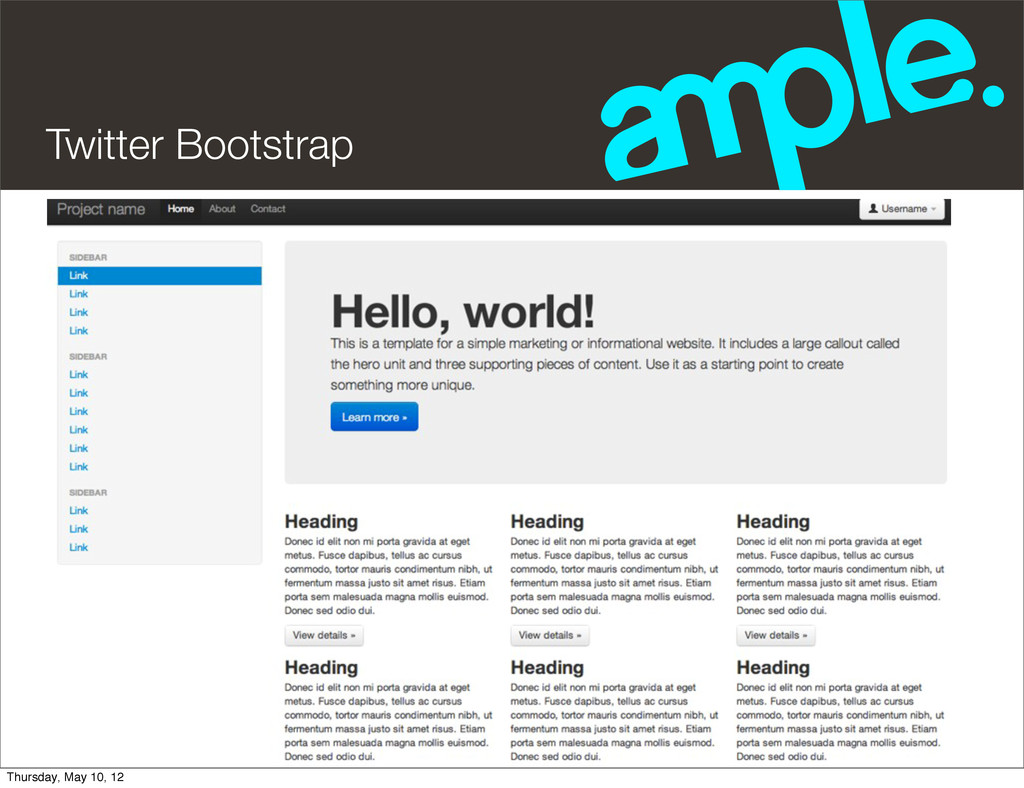 Twitter Bootstrap Thursday, May 10, 12