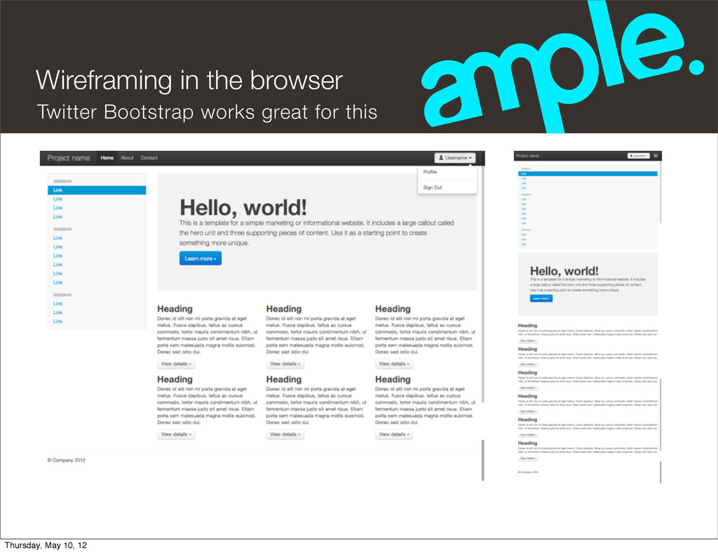 Wireframing in the browser Twitter Bootstrap wo...