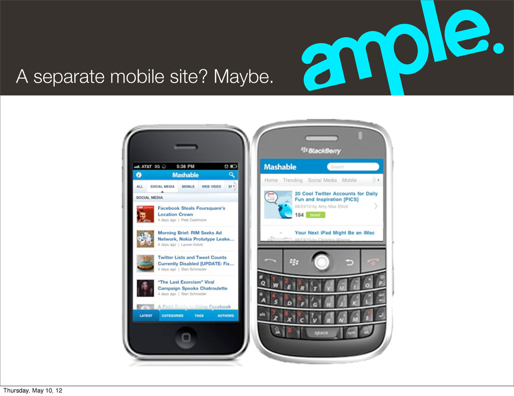 A separate mobile site? Maybe. Thursday, May 10...