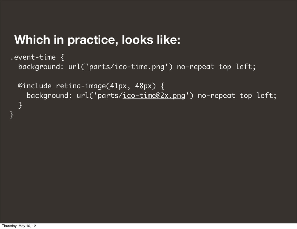 Which in practice, looks like: .event-time { ba...