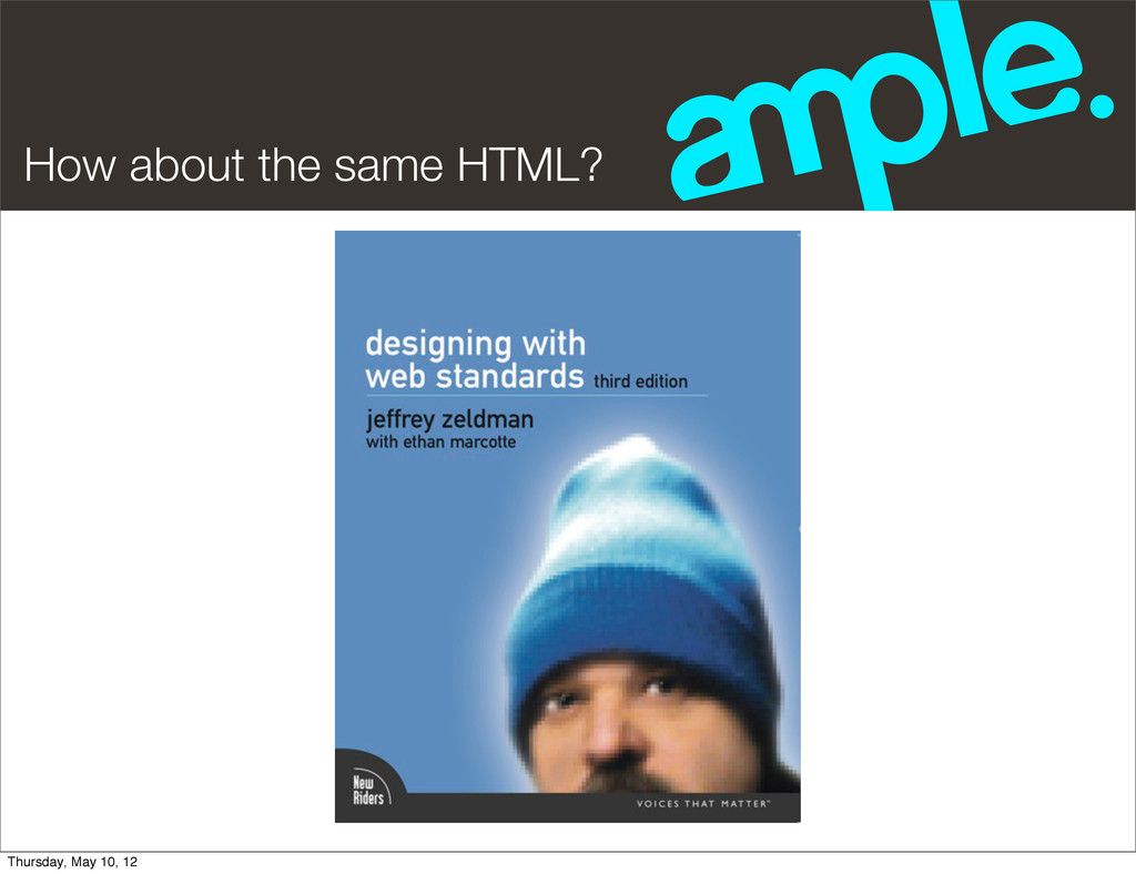 How about the same HTML? Thursday, May 10, 12