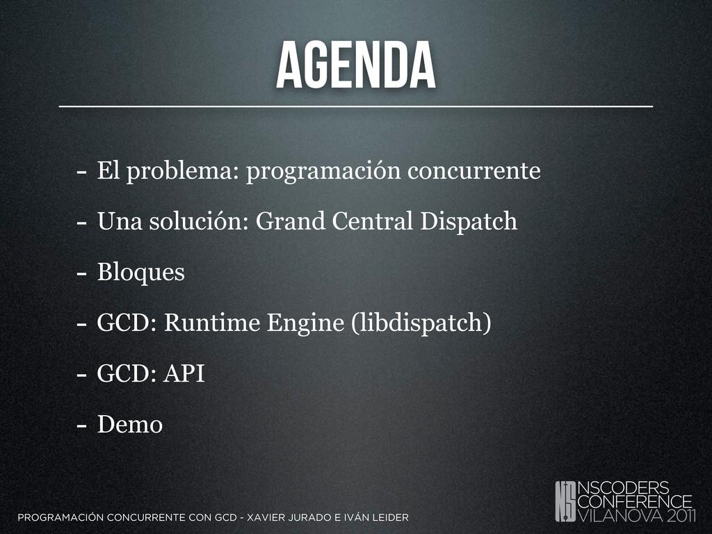 Agenda - El problema: programación concurrente ...