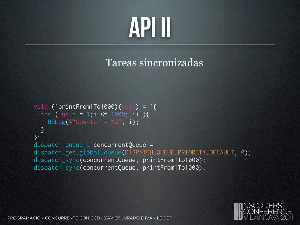 API II Tareas sincronizadas PROGRAMACIÓN CONCUR...