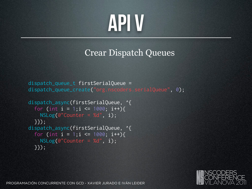 API V Crear Dispatch Queues PROGRAMACIÓN CONCUR...