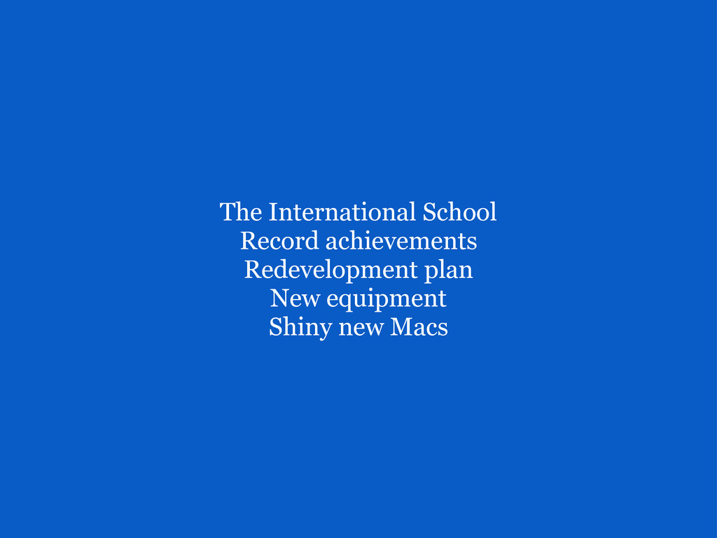 The International School Record achievements ...
